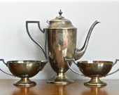 Vintage Art Deco Silver Plated Coffee Set Coffee Pitcher Open Cream Sugar 1930s Old Hollywood Decor