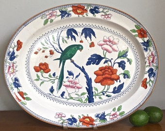 Vintage Booths Platter Tray Parrot Green Silicon China Antique Blue White Earthenware Chinoiserie Chic