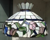 Tiffany Style Stained Glass Hanging Light Fixture with 3 Pull Chain Sockets - Pink Blue Gold and Green Floral Flowers ~ Ceiling Chandelier