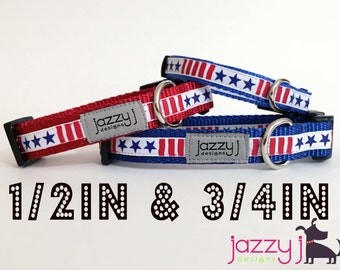 New Stars & Stripes Red, White, and Blue Patriotic Dog Collar