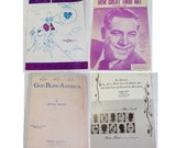 Choice of Four Antique Piano Sheet Music- God Bless America, On Top of Old Smoky, How Great Thou Art, The Bowery