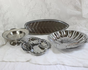 Chrome and Stainless Steel Serving Set of four- Vintage Shelton Ware- Pedestal Bowl, Leaf Tray, Clam Shell Bowl, Divided Relish Dish