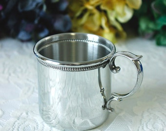 Engraved Pewter Baby Cup with Beaded Detail