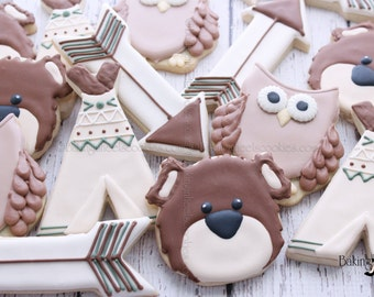 Woodland Decorated Cookies, Woodland Baby Shower Cookies, Bear Cookies, Owl Cookies, Tee Pee Cookies, Camping Cookies, Woodland Birthday