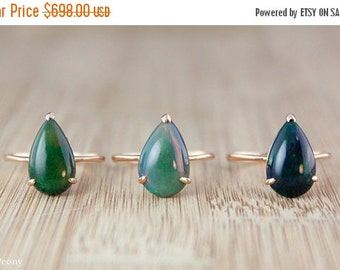 ON SALE Teardrop Australian Black Opal Rings - Rose Gold