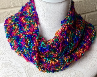 Elegant Crossover Cowl/Neckwarmer, Lightweight, Colourful Ladies Scarf,  (Blue Red Gold Green)  Adult/Teens, Great accessory