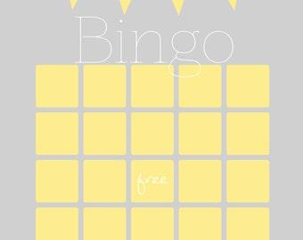Baby Shower Bingo Game Printable, Grey and Yellow, 5x7