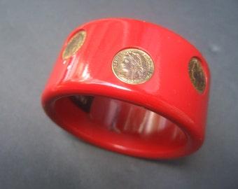 NEIMAN MARCUS Wide Plastic Gilt Coin Cuff Bracelet