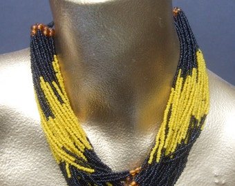 Artisan Glass Beaded American Indian Multi Strand Choker Necklace