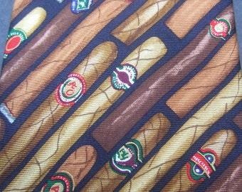 Mens Whimsical Cigar Theme Silk Necktie