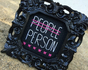 Mini Black Baroque Framed Cross Stitch - People Person