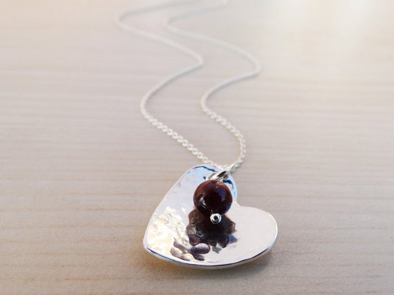 Silver Heart Necklace & Ruby - Sterling Silver