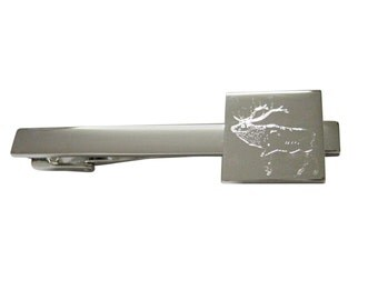 Engraved Elk Square Tie Clip
