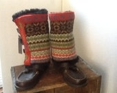 Repurposed wool sweater boot covers, boot sleeves, boot cuffs