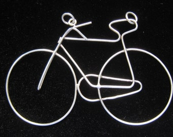 """SALE A. VAHAN Lg. Sterling Silver Bicycle Pendant. 1970's Vintage.  3.5"""" W x 2.25"""" H.  Early Sacha Der Calousdian US Piece."""