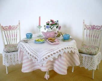 One Inch Scale Dollhouse Miniature Shabby Chic Table and Chairs