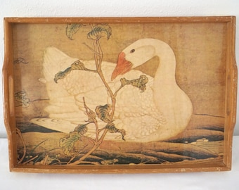 Vintage Lacquerware Tray with Preening Goose Asian Decor