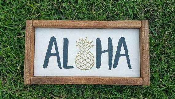 Framed Aloha Sign Pineapple Aloha Neutral Home Decor Wooden