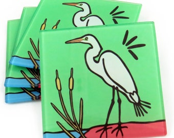 Egret Tempered Glass Coasters