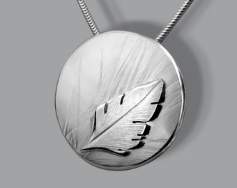 Drifting Feather Pendant, Silver Pendant, Silver Jewellery, nature jewellery.