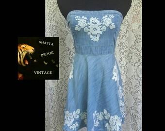 Strapless Denim Babydoll Dress with White Floral Embroidery - Stapless Mini Dress Skater Dress - Embroidered Denim - Womens Small Medium
