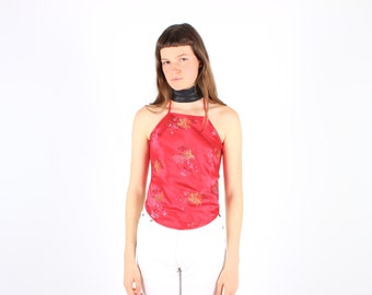 90s Chinese / Cheongsam Red + Metallic Gold Oriental Backless Tie Up Crop Top