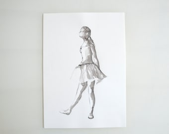 Original ballerina pencil drawing- Degas inspiration, drawing, art, pencil drawing, ballerina drawing, modern art, pencil drawing, sketch