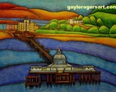 Llandudno Pier art print A4 from Original Drawing by Gayle Rogers Made in Wales