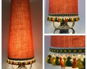 Conical Lamp Shade Orange Hessian & Vintage Trim Fat Lava Kitsch