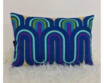 "Reserved- Bolster Cushion Cover Vintage 70s Psychedelic Fabric Retro 12"" X 18"""
