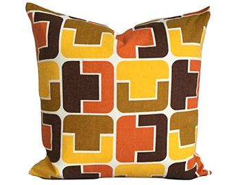 """Retro Throw Pillow Cover Original Vintage 60s 70s Fabric 16"""" x 16"""""""