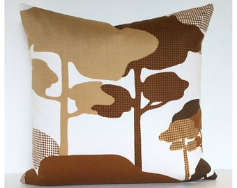 """Vintage 70s Stylised Trees Fabric Cushion Cover 18"""" Brown Retro Pillow Cover"""