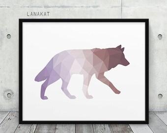 Purple Brown Wolf Print. Triangle Geometric Print. Wolf Wall Art. Woodland Animal Print. Pastel Violet Brown. Nursery Home Decor. Printable