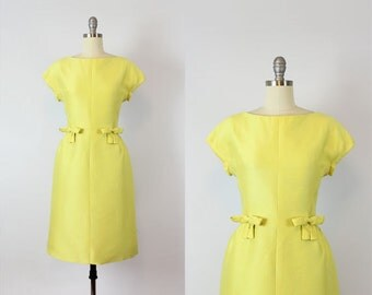 vintage 50s dress / 1950s ADELE SIMPSON dress / bright yellow dress / minimalist modern dress / silk shantung dress / designer dress