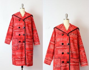 vintage 60s nautical jacket / 1960s novelty print coat / sailing print coat / nautical raincoat / Starboard Side coat