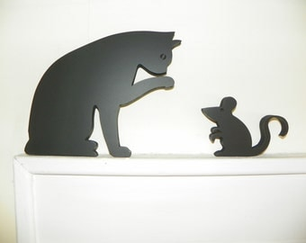 Playful Cat & Mouse for Door Topper or Shelf