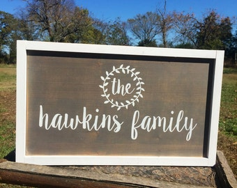 Last name sign. Personalized family sign. Family name sign. Established sign. Painted wood sign.