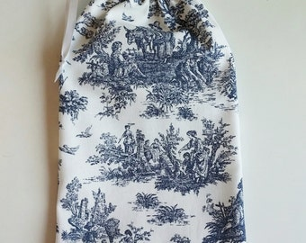 Navy Toile Gift Bag, drawstring bag for gift giving - American Made