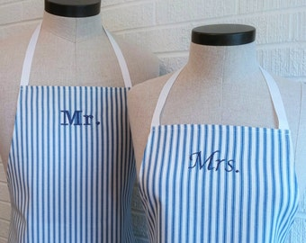 Blue Stripe Mr & Mrs Apron Set with Pocket FREE SHIPPING - Husband and Wife, Nautical Engagement Wedding Shower Gift