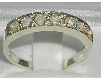 10K White Gold Natural Colorful Opal Engagement Ring, Half Eternity Stackable Ring - Made in England - Customizable