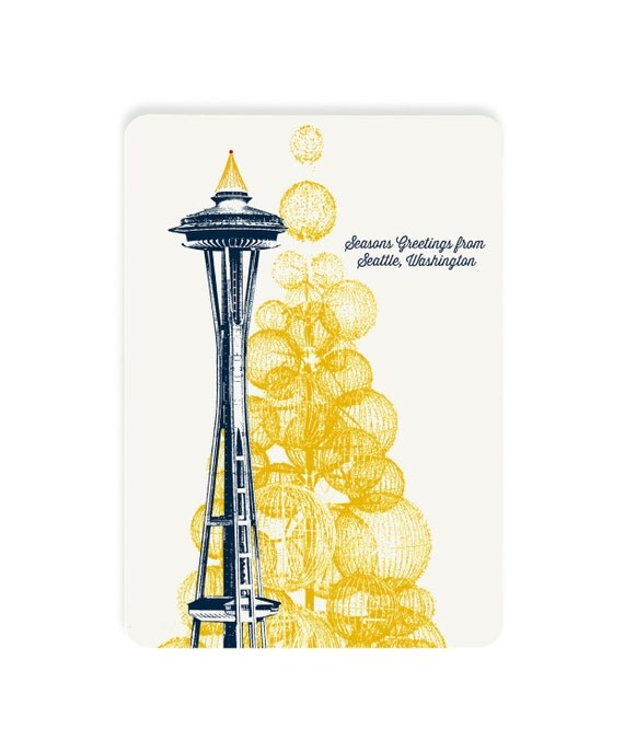 Holiday Seattle, WA Themed Postcards - Space Needle Holiday Lights - Single or Set