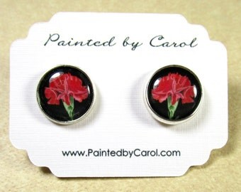 Carnation Earrings, Red Carnation Jewelry, Carnation Studs, Carnation Lever Backs, Carnation Gifts, Bridesmaids Jewelry, Wedding Earrings