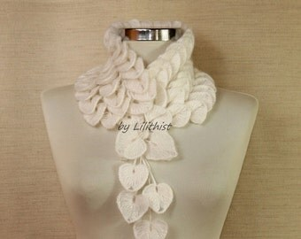White Scarf, Infinity Neck Warmer, Bib Collar, Crochet Scarf, Women Gift, Cowl Scarf, Leaf Scarf, Bridal Lace Wrap, Fall Winter Accessories