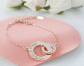 Women's Personalized Interlocking Circle Bracelet with Intertwined Rings - Merci Maman Jewelry Gift for wedding, mum, birthday, mother's day