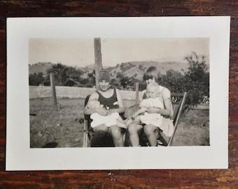 Original Antique Photograph Little Girls Playdate 1930