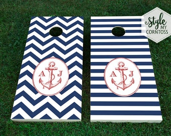 Anchors Away | Nautical Chevron / Stripes | Custom Corntoss | Classy Cornhole | Bag Toss | Baggo | Wedding Game | Party Game | Outdoor Game