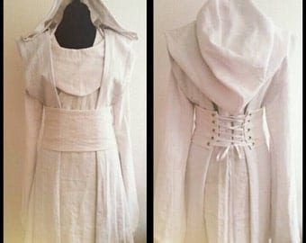 MADE TO order from August'16: white  linen Star Wars inspired Jedi robe,dress,with hood, costume cosplay larp  pixie SF bridal wedding