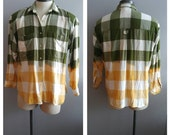 Upcycled Clothing, Dip Dyed Cream, Yellow and Khakie Green Plaid Shirt, Bleach Dyed, Reclaimed Button-up Shirt, Men's XL
