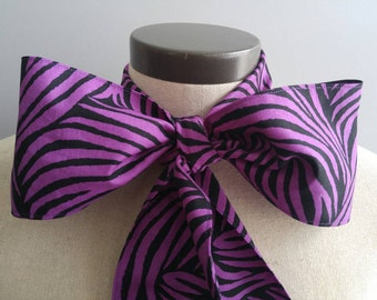 Upcycled Steampunk Clothing, Mad Hatter Bow Tie, Black and Purple Zebra Print Bow Tie, Alice in Wonderland, Tim Burton