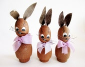 Trio Lovely German DDR Vintage Easter Erzgebirge Wood Bunnies with Bows, made in the 70s